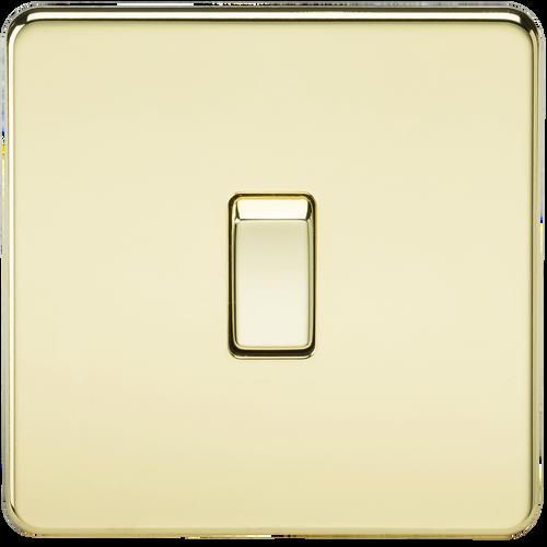 Screwless 20A 1G DP Switch - Polished Brass (DFL1SF8341PB)