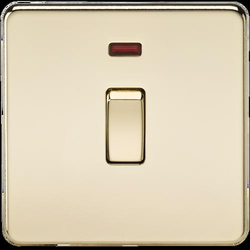 Screwless 20A 1G DP Switch with Neon - Polished Brass (DFL1SF8341NPB)