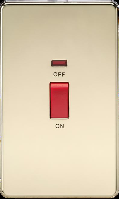 Screwless 45A 2G DP Switch with Neon - Polished Brass (DFL1SF8332NPB)