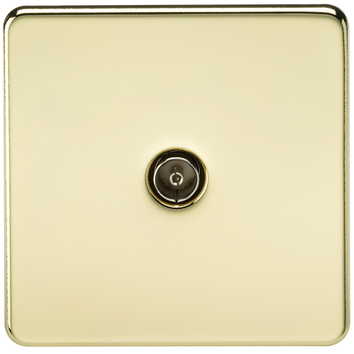 Screwless 1G TV Outlet (Non-Isolated) - Polished Brass (DFL1SF0100PB)