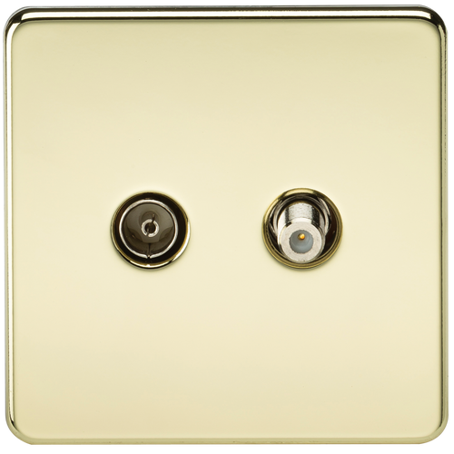 Screwless TV & SAT TV Outlet (Isolated) - Polished Brass (DFL1SF0140PB)
