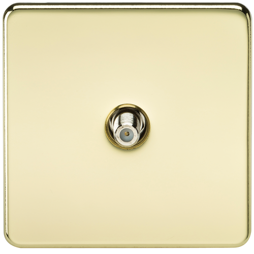 Screwless 1G SAT TV Outlet (Non-Isolated) - Polished Brass (DFL1SF0150PB)