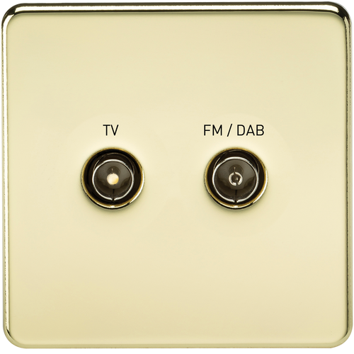 Screwless Screened Diplex Outlet (TV & FM DAB) - Polished Brass (DFL1SF0160PB)