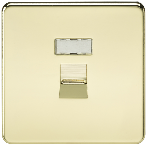 Screwless RJ45 Network Outlet - Polished Brass (DFL1SFRJ45PB)