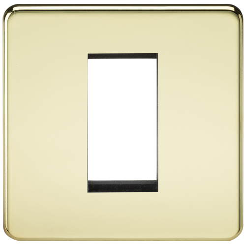 Screwless 1G Modular Faceplate - Polished Brass (DFL1SF1GPB)