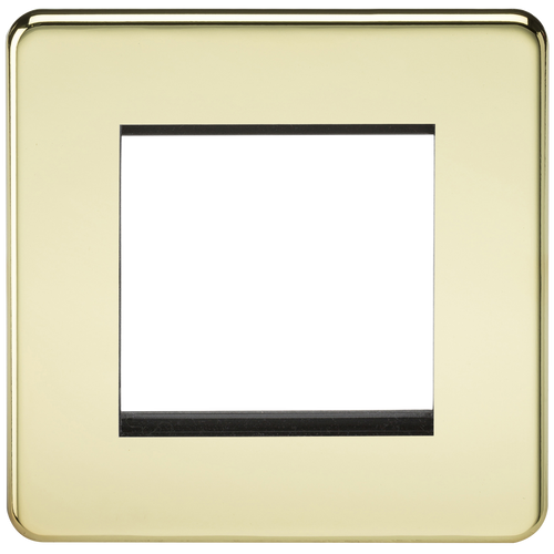 Screwless 2G modular faceplate - Polished Brass (DFL1SF2GPB)