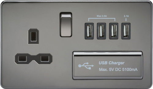 Screwless 13A 1G Switched Socket with Quad USB Charger 5V DC 5.1A - Black Nickel with Black Insert (DFL1SFR7USB4BN)