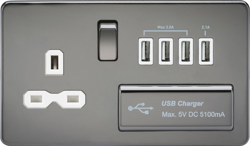 Screwless 13A 1G Switched Socket with Quad USB Charger 5V DC 5.1A - Black Nickel with White Insert (DFL1SFR7USB4BNW)