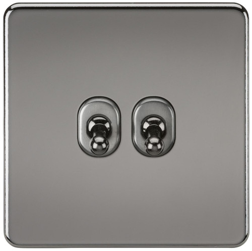 Screwless 10A 2G 2-Way Toggle Switch - Black Nickel (DFL1SF2TOGBN)