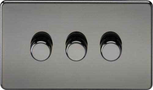Screwless 3G 2-Way 10-200W (5-150W LED) Dimmer Switch - Black Nickel (DFL1SF2183BN)