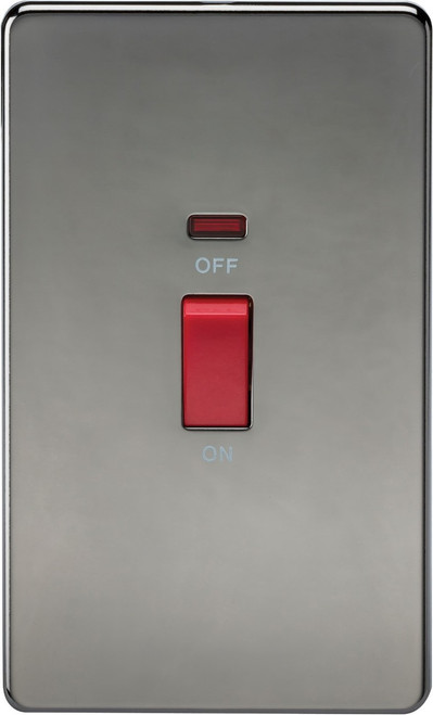 Screwless 45A 2G DP Switch with Neon - Black Nickel (DFL1SF8332NBN)