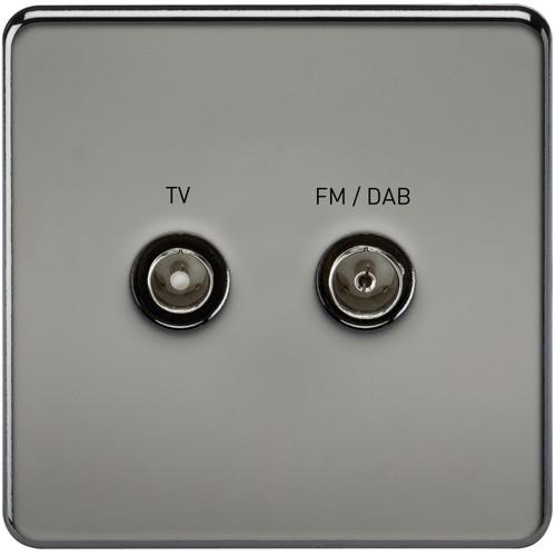 Screwless Screened Diplex Outlet (TV & FM DAB) - Black Nickel (DFL1SF0160BN)