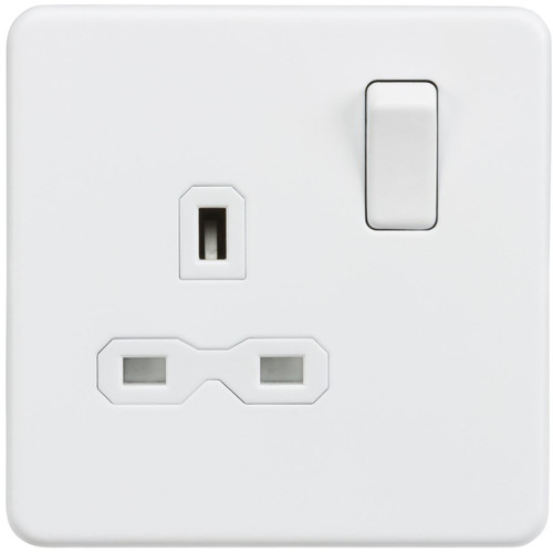 Screwless 13A 1G DP Switched Socket - Matt White (DFL1SFR7000MW)
