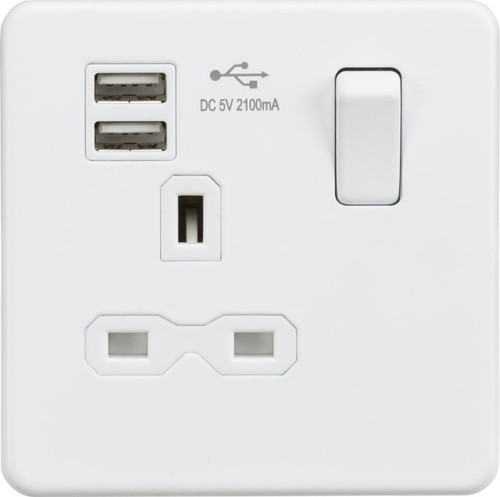 Screwless 13A 1G Switched Socket with Dual USB Charger - Matt White (DFL1SFR9901MW)