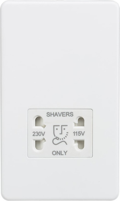 Screwless 115V/230V Dual Voltage Shaver Socket - Matt White (DFL1SF8900MW)