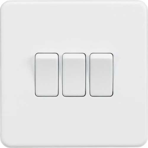 Screwless 10A 3G 2-Way Switch - Matt White (DFL1SF4000MW)
