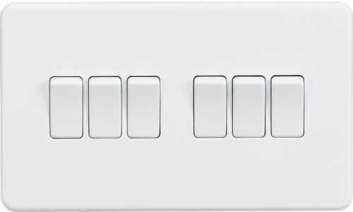 Screwless 10A 6G 2-Way Switch - Matt White (DFL1SF4200MW)