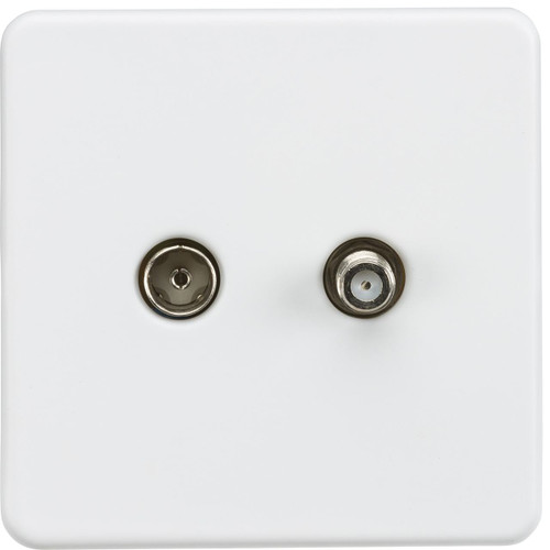 Screwless TV & SAT TV Outlet (Isolated) - Matt White (DFL1SF0140MW)