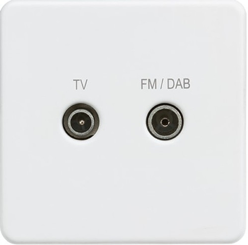 Screwless Screened Diplex Outlet (TV & FM DAB) - Matt White (DFL1SF0160MW)