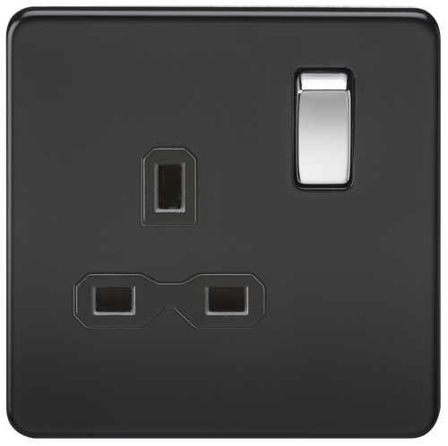 Screwless 13A 1G DP Switched Socket - Matt Black with Chrome Rockers (DFL1SFR7000MB)