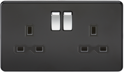 Screwless 13A 2G DP Switched Socket - Matt Black with Chrome Rockers (DFL1SFR9000MB)