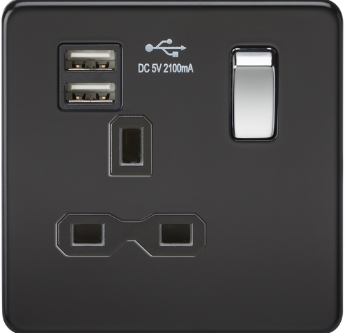 Screwless 13A 1G Switched Socket with Dual USB Charger - Matt Black with Chrome Rockers (DFL1SFR9901MB)