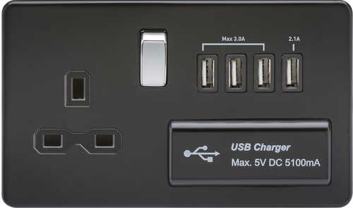 Screwless 13A 1G Switched Socket with Quad USB Charger 5V DC 5.1A - Matt Black with Chrome Rockers (DFL1SFR7USB4MB)