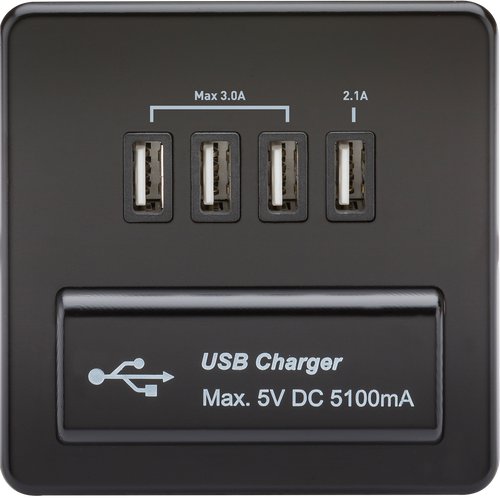 Screwless 1G Quad USB Charger Outlet 5V DC 5.1A - Matt Black (DFL1SFQUADMB)