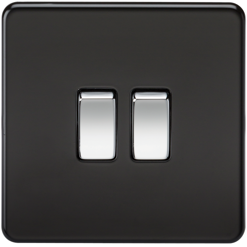 Screwless 10A 2G 2-Way Switch - Matt Black with Chrome Rockers (DFL1SF3000MB)