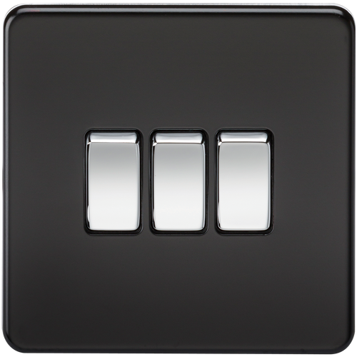 Screwless 10A 3G 2-Way Switch - Matt Black with Chrome Rockers (DFL1SF4000MB)
