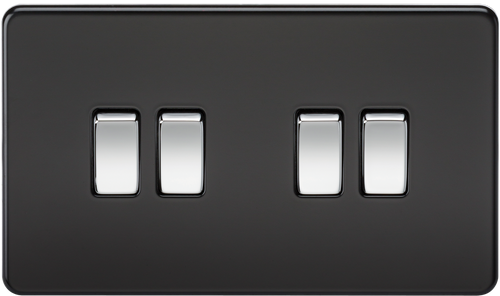 Screwless 10A 4G 2-Way Switch - Matt Black with Chrome Rockers (DFL1SF4100MB)