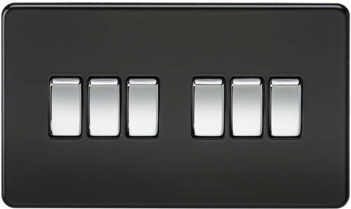 Screwless 10A 6G 2-Way Switch - Matt Black with Chrome Rockers (DFL1SF4200MB)