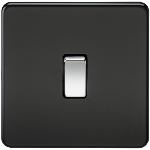Screwless 10A 1G Intermediate Switch - Matt Black with Chrome Rockers (DFL1SF1200MB)