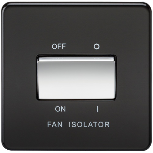 Screwless 10A 3 Pole Fan Isolator Switch - Matt Black with Chrome Rockers (DFL1SF1100MB)