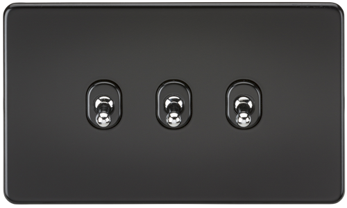 Screwless 10A 3G 2-Way Toggle Switch - Matt Black with Chrome Toggles (DFL1SF3TOGMB)