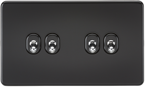 Screwless 10A 4G 2-Way Toggle Switch - Matt Black with Chrome Toggles (DFL1SF4TOGMB)