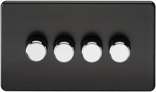 Screwless 4G 2-Way 60-400W Dimmer Switch - Matt Black with Chrome Knobs (DFL1SF2164MB)