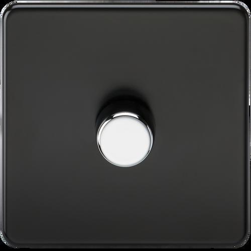 Screwless 1G 2-Way 10-200W (5-150W LED) Dimmer Switch - Matt Black with Chrome Knobs (DFL1SF2181MB)