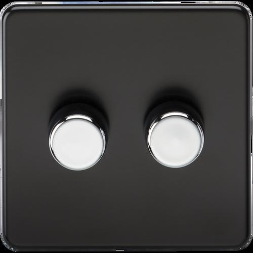 Screwless 2G 2-Way 10-200W (5-150W LED) Dimmer Switch - Matt Black with Chrome Knobs (DFL1SF2182MB)