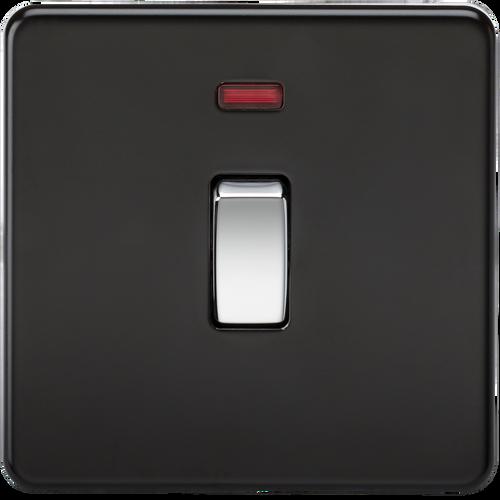 Screwless 20A 1G DP Switch with Neon - Matt Black with Chrome Rocker (DFL1SF8341NMB)