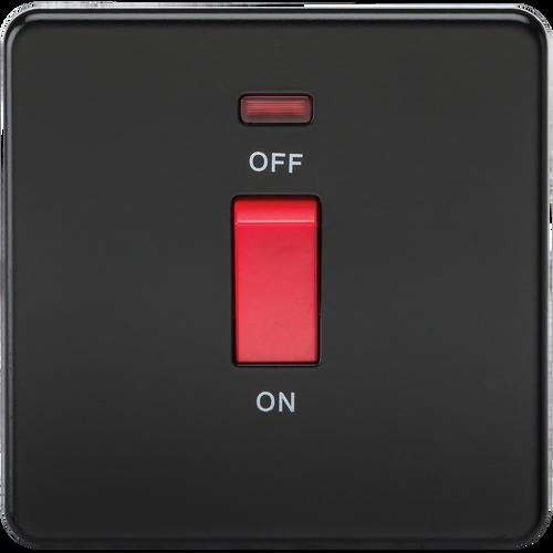 Screwless 45A 1G DP Switch with Neon - Matt Black (DFL1SF8331NMB)