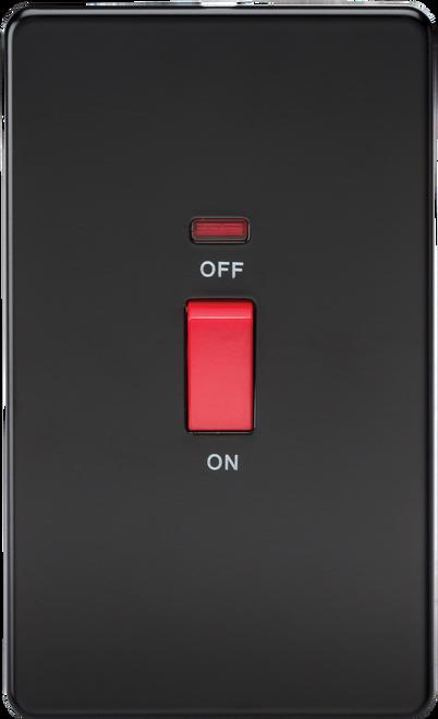 Screwless 45A 2G DP Switch with Neon - Matt Black (DFL1SF8332NMB)