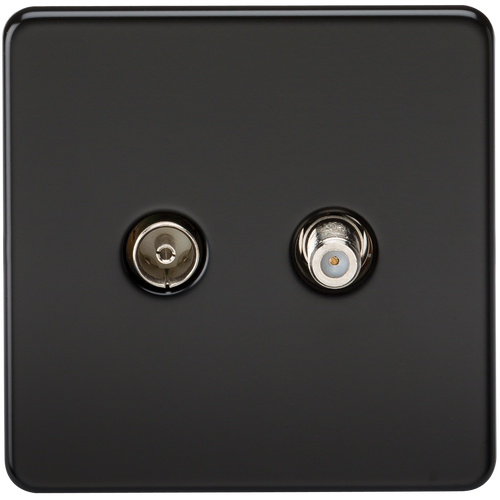 Screwless TV & SAT TV Outlet (Isolated) - Matt Black (DFL1SF0140MB)