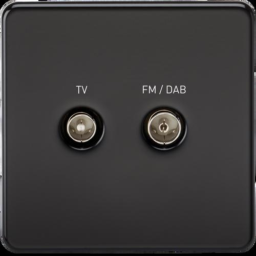 Screwless Screened Diplex Outlet (TV & FM DAB) - Matt Black (DFL1SF0160MB)