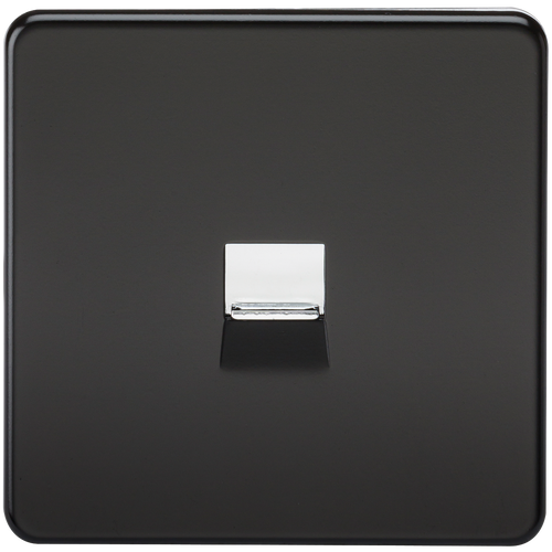 Screwless Telephone Master Socket - Matt Black with Chrome Shutter (DFL1SF7300MB)