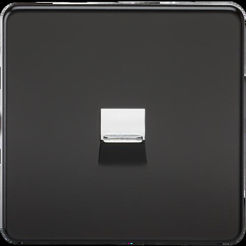 Screwless Telephone Extension Socket - Matt Black with Chrome Shutter (DFL1SF7400MB)