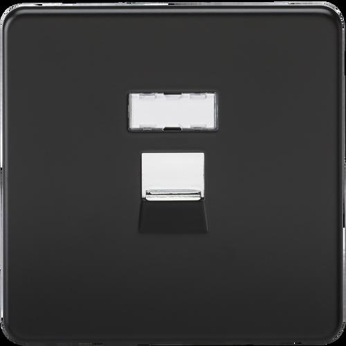 Screwless RJ45 Network Outlet - Matt Black with Chrome Shutter (DFL1SFRJ45MB)
