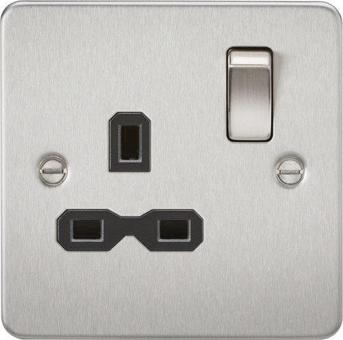 Flat Plate 13A 1G DP Switched Socket - Brushed Chrome with Black Insert (DFL1FPR7000BC)