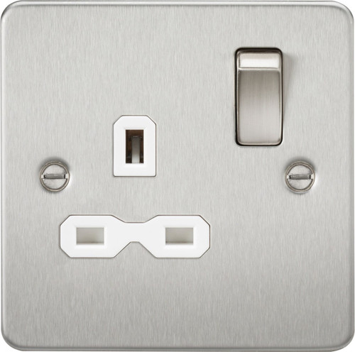 Flat Plate 13A 1G DP Switched Socket - Brushed Chrome with White Insert (DFL1FPR7000BCW)