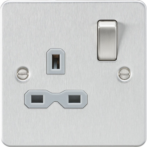 Flat Plate 13A 1G DP Switched Socket - Brushed Chrome with Grey Insert (DFL1FPR7000BCG)